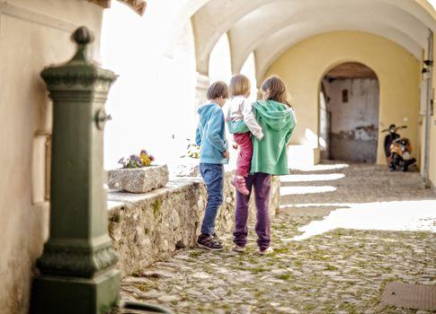 View of Italian children in the Italian street