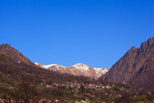 View of Pizzo di Gino mountain from Porlezza, Como. Italy