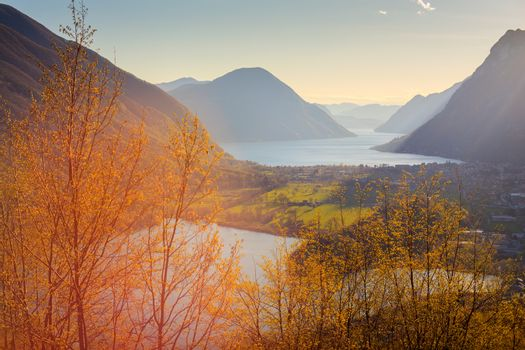 View of lake Piano or Romazza lake, Italy