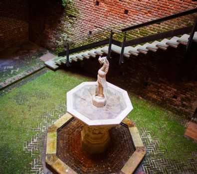 View of fountain, Sforzesco castle in Milan. Italy