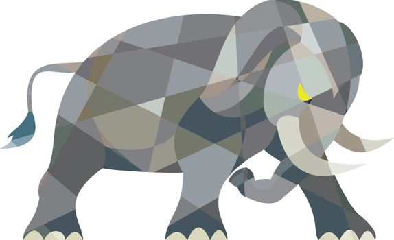 Elephant Attacking Side Low Polygon
