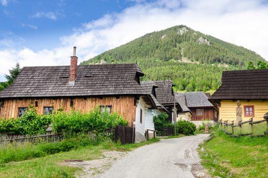 Traditional folklore houses in old village Vlkolinec, Slovakia
