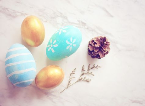 Pastel easter eggs with retro filter effect