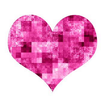 Abstract heart with bright mosaic pattern on white background