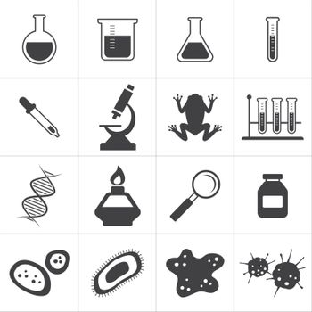 chemistry and biology icon set