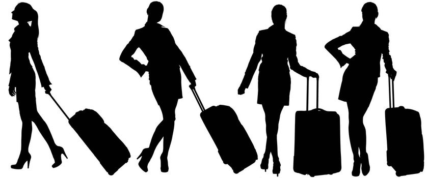 Silhouettes of womans with bags. Isolated white background