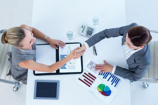 Businesswomen reaching an agreement
