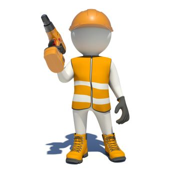 White man in special clothes with drill in hand. Isolated on white background