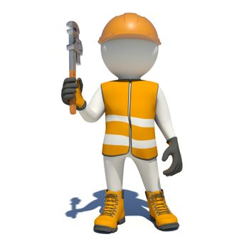 White man in special clothes with adjustable spanner in hand. Isolated on white background