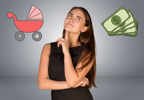 Business woman with money and buggy. Gray gradient background