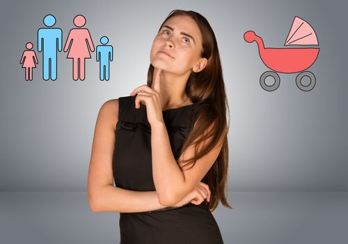 Business woman thinking over buggy and family. Gray gradient background