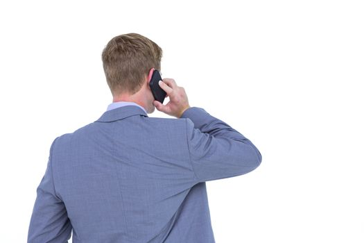 Back turned businessman on the phone