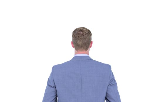 A back turned businessman on a background