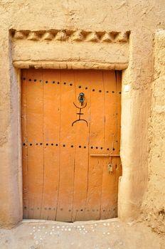 Old brown wooden door in Morocco
