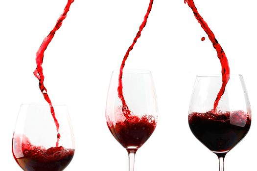 Red wine poured in glass