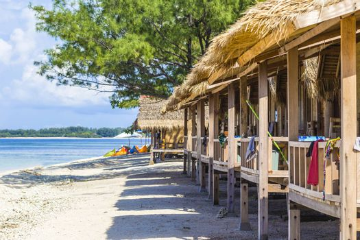 Tropical coastline of Gili island,Indonesia.White sand beach.