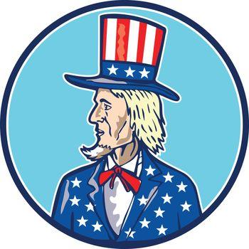 Uncle Sam Top Hat American Flag Cartoon