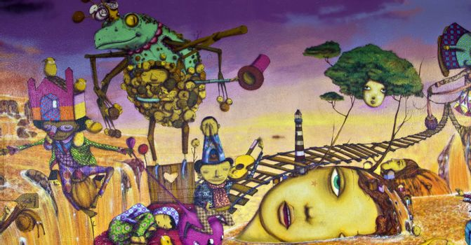 SAO PAULO, BRAZIL - MAY 30, 2015: An detail of one mural with graffiti of painters Gemeos in Ibirapuera Park, Sao Paulo, Brazil.