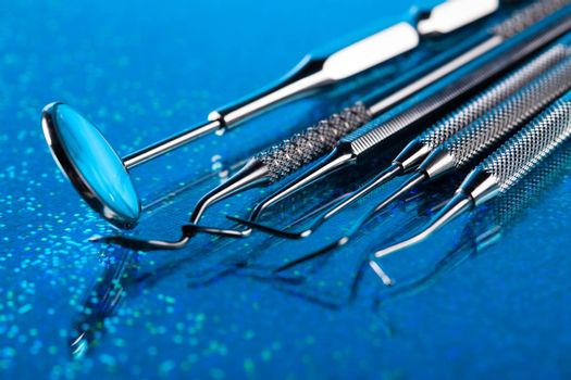 Dental instruments and tools in a dentists office