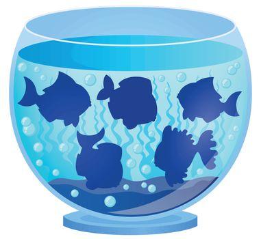 Aquarium with fish silhouettes 3