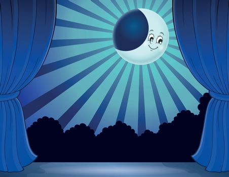 Stage with moon in moonlight