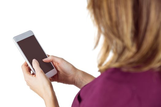 Woman sending text message