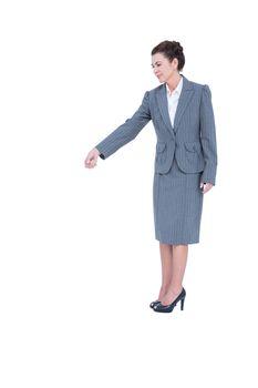 A businesswoman is gesturing