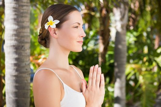 Beautiful natural brunette doing yoga