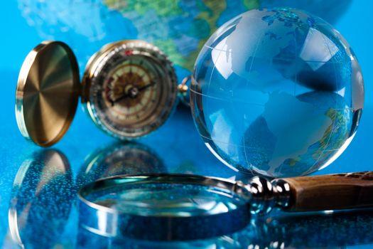 Glass globe, bright worldwide theme