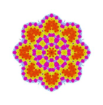 Bright color shape with abstract pattern