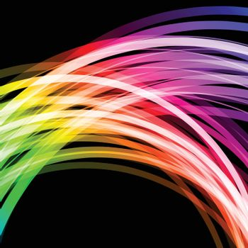 Abstract background with glowing rainbow lines vector illustration