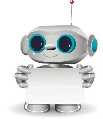 Illustration a white robot and white background