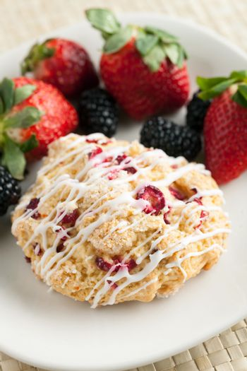 Orange Cranberry Scone with fresh fruit.  Shallow depth of field.