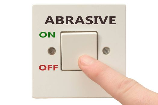 Turning off Abrasive with finger on electrical switch
