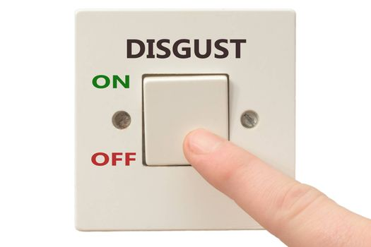 Turning off Disgust with finger on electrical switch