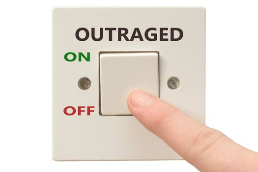 Turning off Outraged with finger on electrical switch
