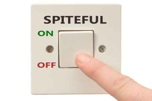 Turning off Spiteful with finger on electrical switch