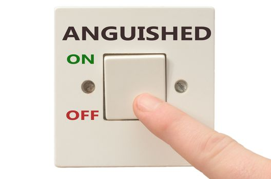 Turning off Anguished with finger on electrical switch