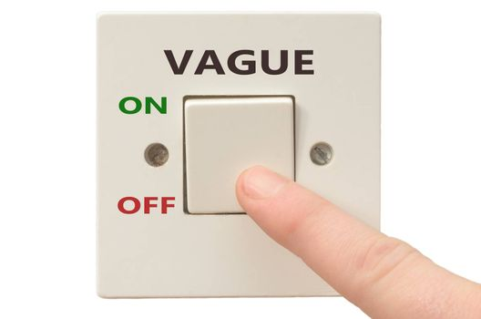 Turning off Vague with finger on electrical switch