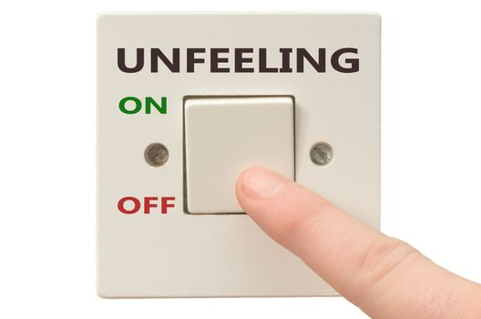 Turning off Unfeeling with finger on electrical switch