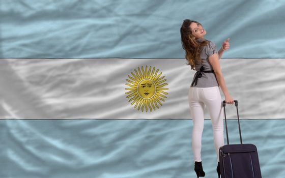 young beautiful woman is traveling to argentina