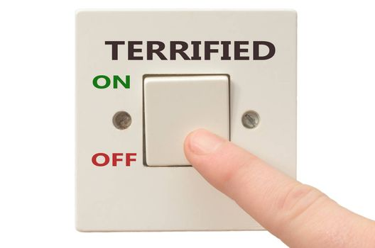 Turning off Terrified with finger on electrical switch