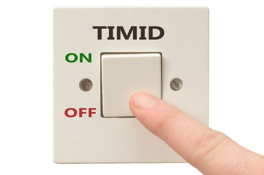 Turning off Timid with finger on electrical switch