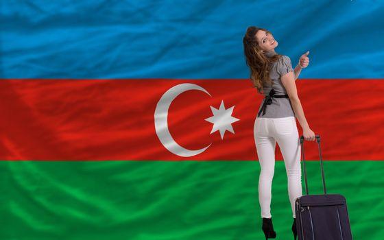 young beautiful woman is traveling to azerbaijan