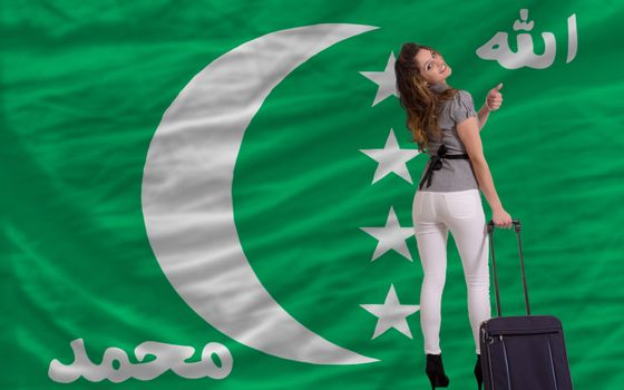 young beautiful woman is traveling to comoros