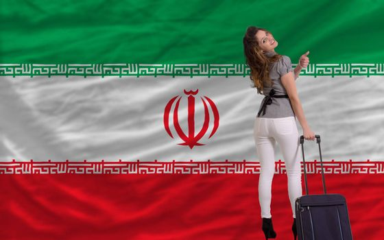 young beautiful woman is traveling to iran