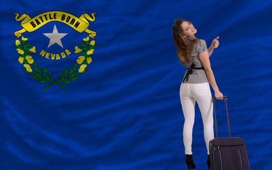 young beautiful woman is traveling to nevada