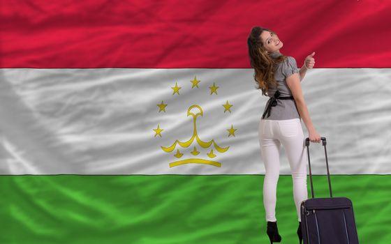 young beautiful woman is traveling to tajikistan