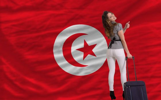 young beautiful woman is traveling to tunisia