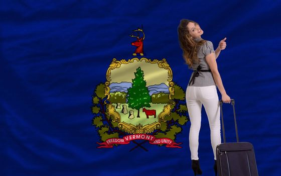 young beautiful woman is traveling to vermont